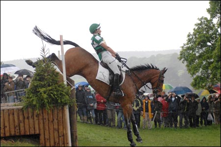 Mary King and Call Again Cavalier on their way to a clear cross-country round at Chatsworth Horse Trials