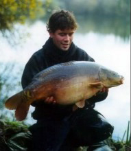 Mail reporter Ben Weir with a big carp from a small water.