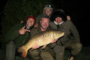 The first show of five features Mick Norcross (with carp) plus Hollywood actor Tamer Hassan (right) - seen here with Dean Macey (left) and Ali Hamidi (back).