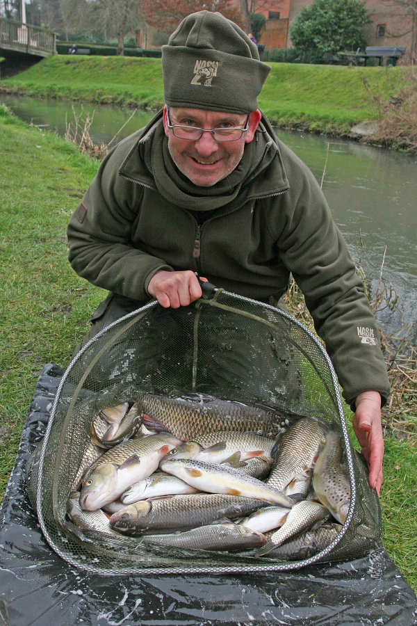 Get the conditions correct on small rivers and great catches like this bag of chub, roach and dace can be taken.