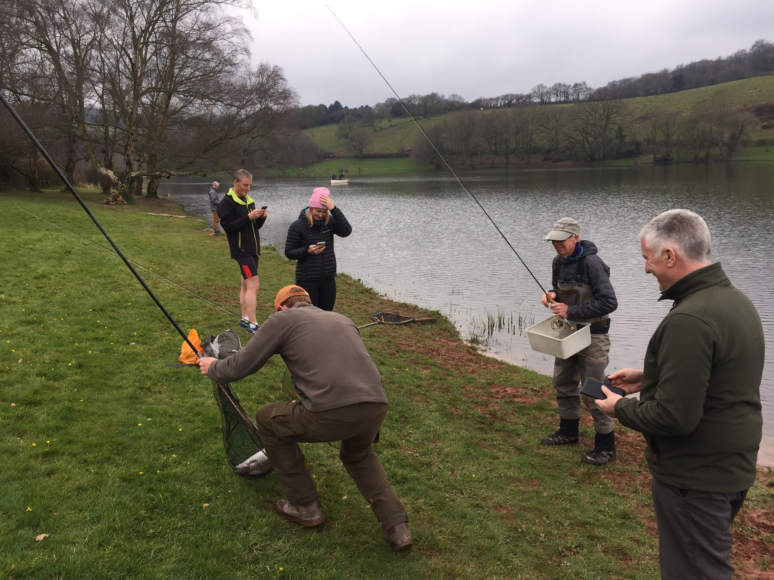 Marathon man Charles Jardine gets a trout on the bank - a key requirement of his epic mission.