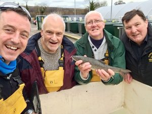 Fish stocking projects are benefiting from the work at Calverton. Here Rowley DAS officials visit the famous Nottinghamshire fish farm to check on the barbel that have boosted the River Severn.