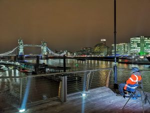 London fishing adventurer Shaun Luke in the spot where he encountered the tidal Thames catfish.