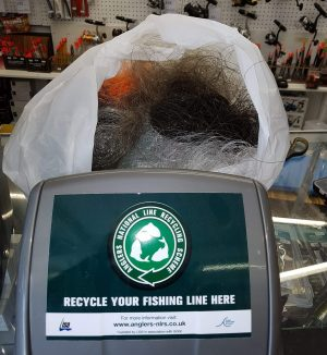 One of the many bins that is ensure a success for the Anglers National Line Recycling Scheme.