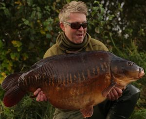 The record river carp when caught last autumn by Nick Helleur.