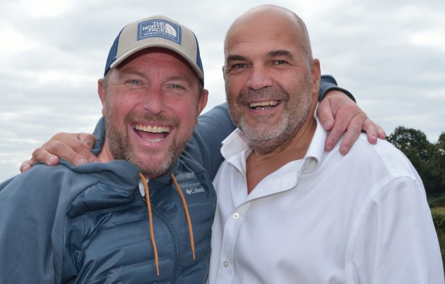 Jess Harding (right, with Angler's Mail columnist Steve Collett) is the main man behind the Sports Stars Fishing Championship. The event's TV profile will be bigger than ever.