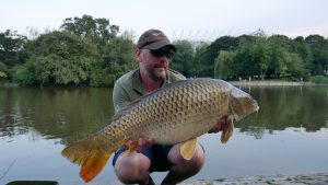 Carp fishing coach Michael Salisbury displays his 25 lb 9 oz carp from Leazes Park.