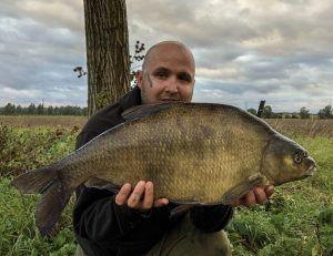 Specimen fish ace Charlie Coppolo with his biggest river bream.