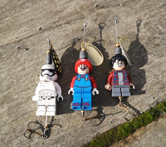 Lego fishing characters are luring in the fish for dad and lad!