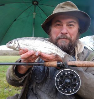 Mark Everard with his latest river record dace - this time for the Bristol Avon.