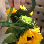 Floral tape is used to connect the stems