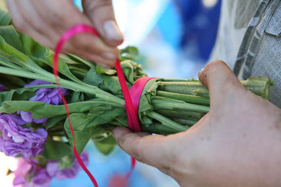 Tie ribbon or raffia around the stems to make them showy