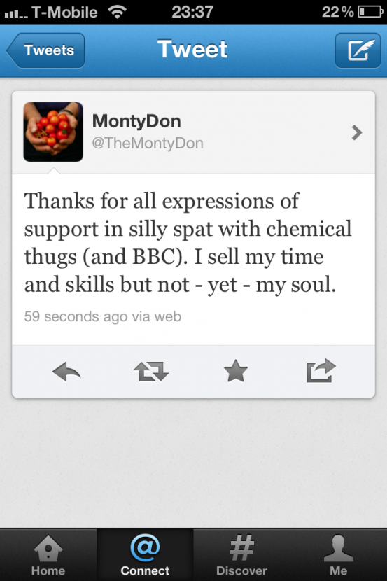Monty thanked supporters on Twitter