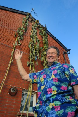 Richard hope with his tall sunflower