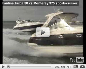 Fairline Targa 38 vs Monterey 375 boat video test