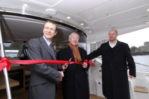 (From left) Sealine MD Steve Coultate, Terence Conran and Sealine design director Carsten Astheimer