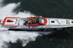 After he retired with a broken gear box, it was his team boat Blue FPT that turned heads with another class win