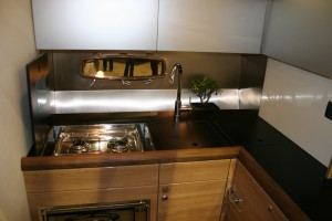 Galley is modern and features a drip tray at the back