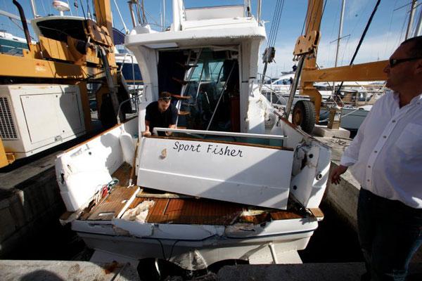 Smashed boat