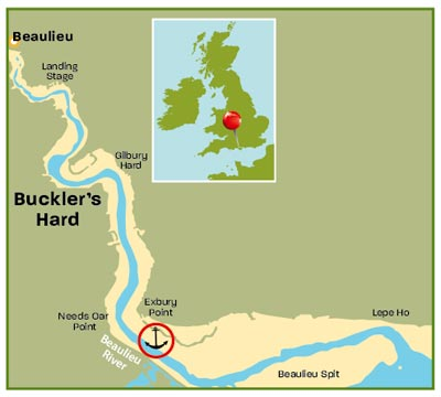 Beaulieu River Hampshire map | Top 25 Anchorages: The South | Motor Boats Monthly |