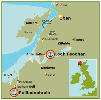 Loch Feochan map | Scotland | Top 25 anchorages | Cruising guides | Motor Boats Monthly |