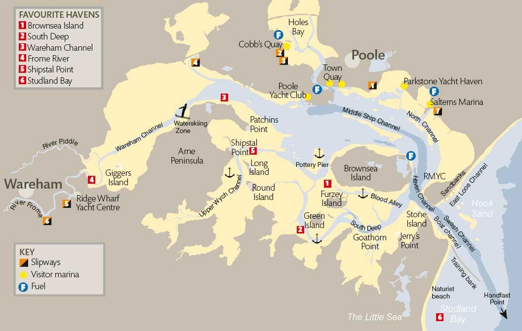 Poole Harbour slipways map