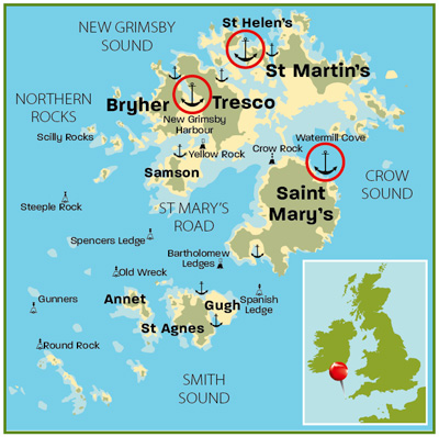 Scilly map | Isles of Scilly | Top 25 Anchorages | Cruising guides | Motor Boats Monthly |