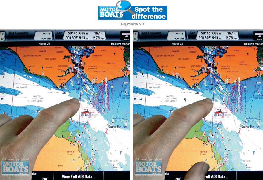 Raymarine AIS | Spot the difference | Pictures | Motor boats Monthly |