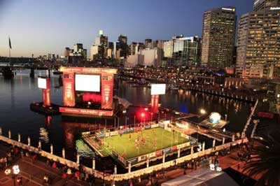 Walcon Marine?s floating football pitch for World Cup in Sydney Harbour, Australia