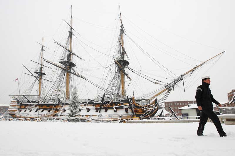 HMS Victory in the snow