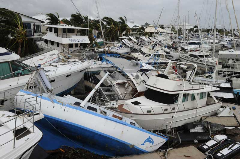 Cyclone Yasi damages boats at Port Hinchinbrook, Australia