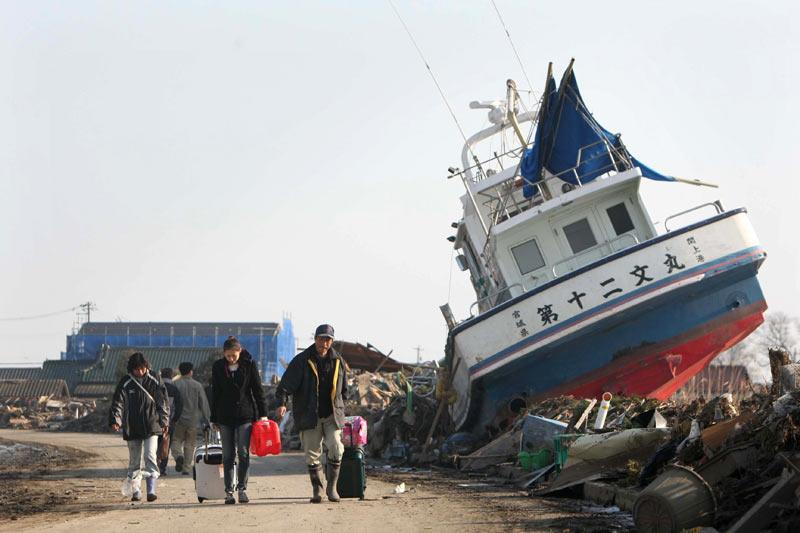 Washed up boat following Sendai tsunami
