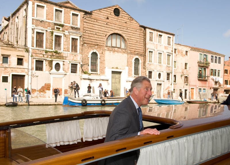 Prince Charles on a motor launch in Venice