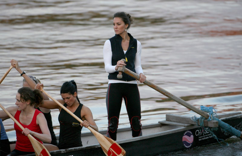 Kate Middleton trains with her boating team