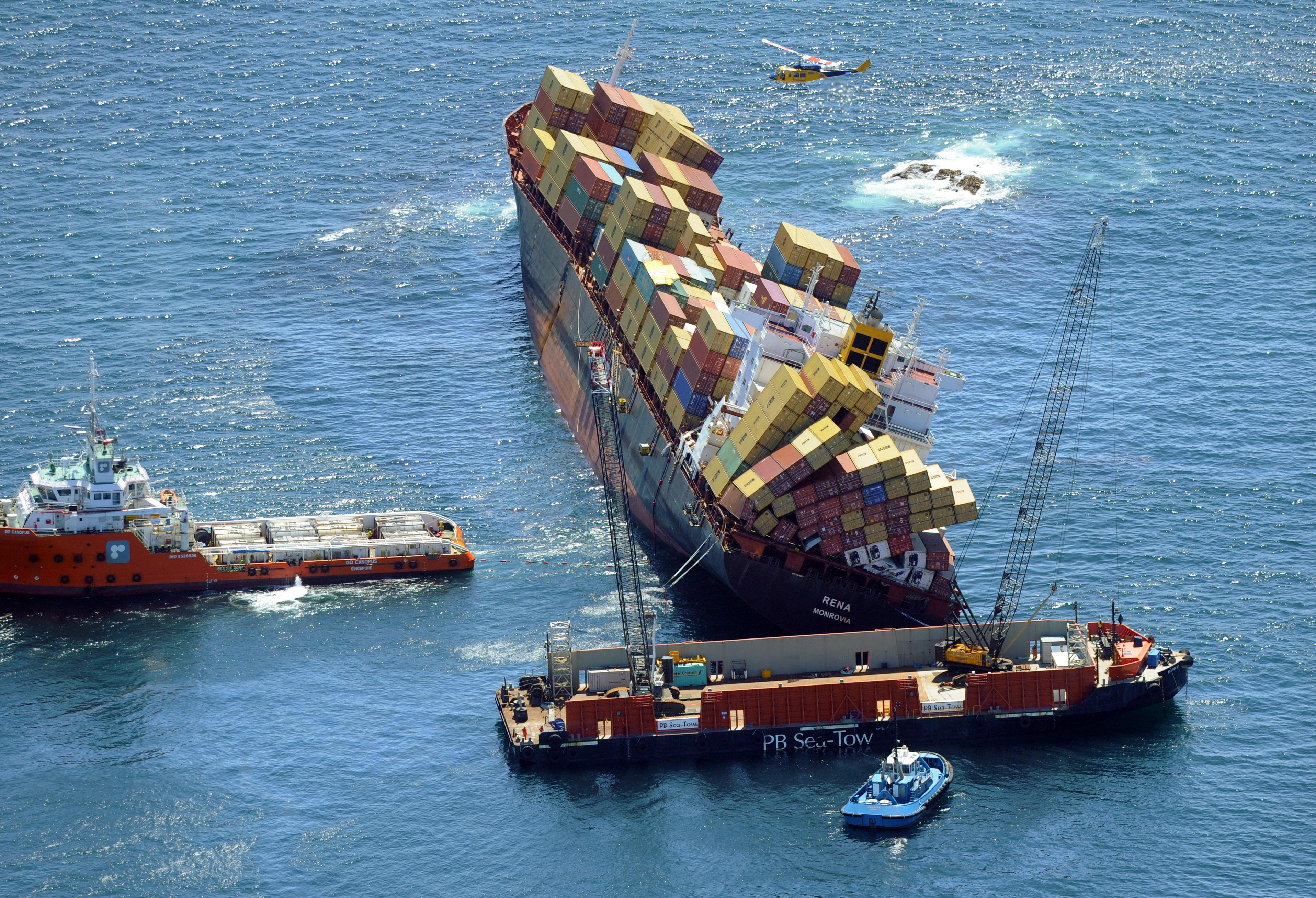 Cargo Ship Rena aground