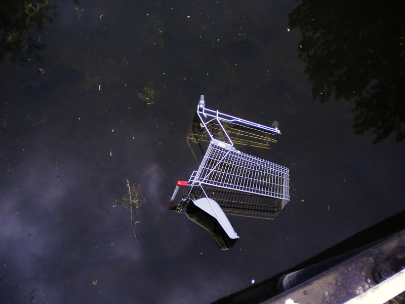 A trolley in a river