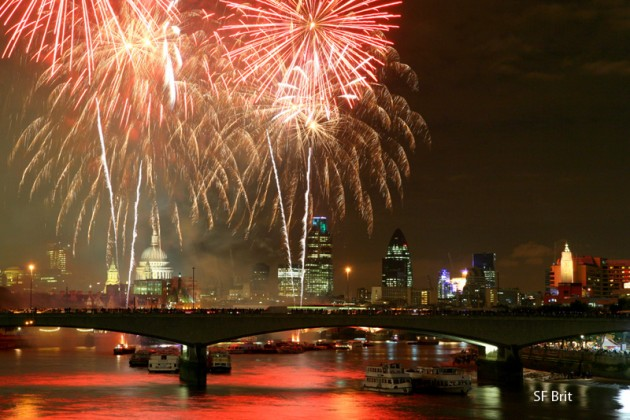 Fireworks over the Thames in London