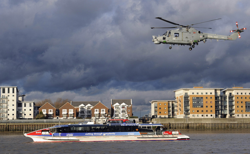 Royal Marines helicopter over London