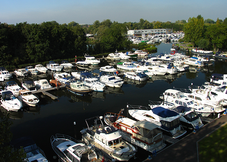 Motorboats docked at Shepperton Marina Basin B