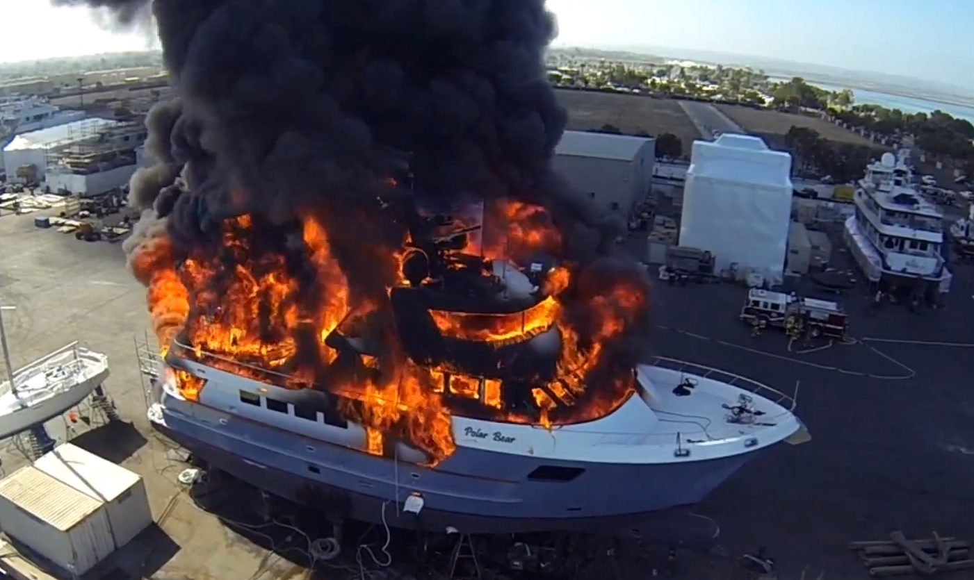 Boat Fail: $24m superyacht fire caught on drone camera ...