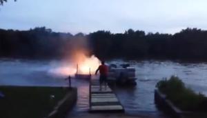 Fireworks boat fail