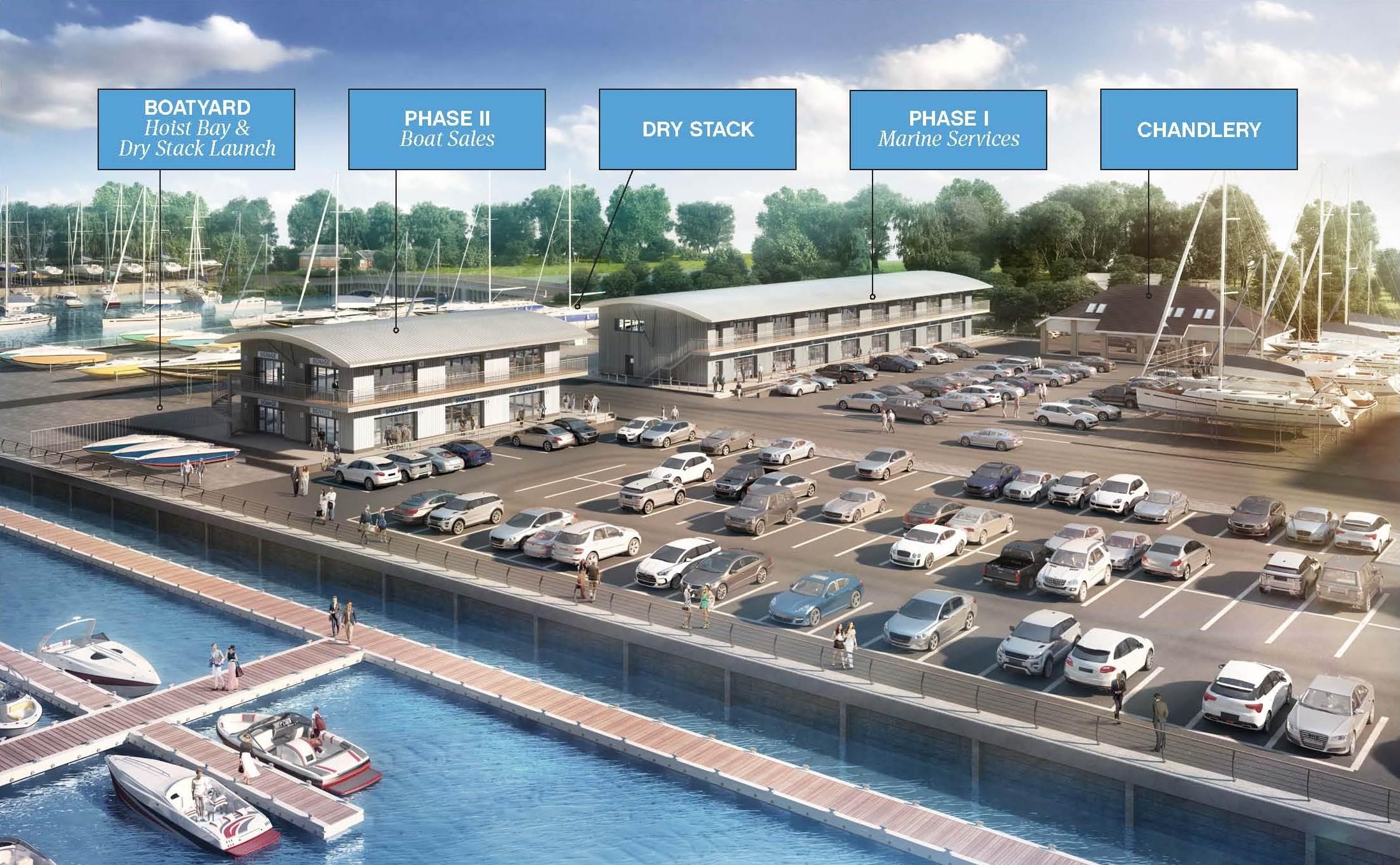 Swanwick Boatyard Development Notated CGI render