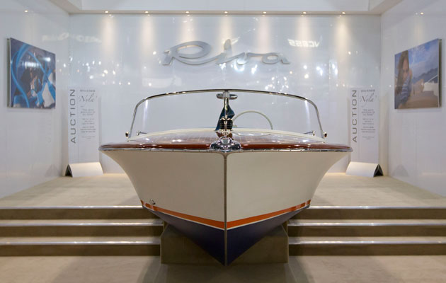 Classic Riva Junior auction London Boat Show 2015 bow