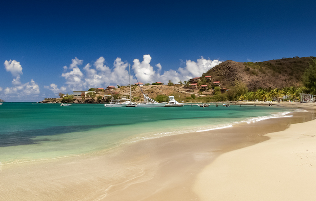 Oualie Bay on the Caribbean island of Nevis
