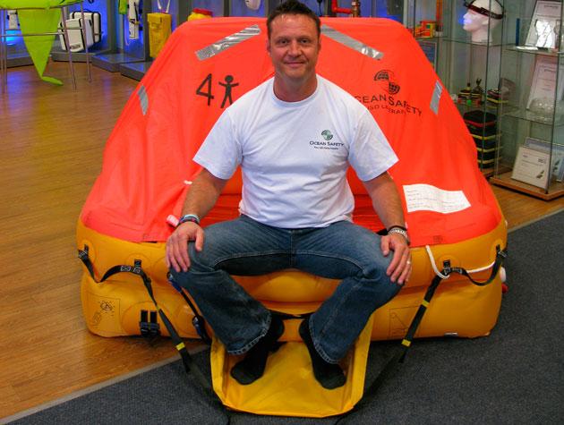 Wayne Ingram with his four-man liferaft, liferaft survival challenge