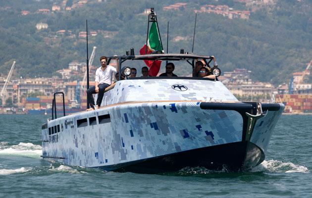 Baglietto MV13 camouflaged motor boat
