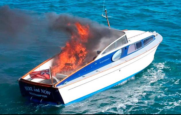 Bond's first boat on fire