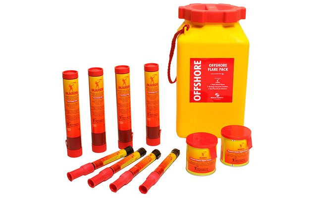 Ocean Safety Offshore Flare Pack including parachute rocket flares