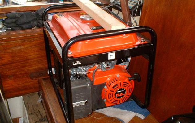 Petrol generators in boat cabin