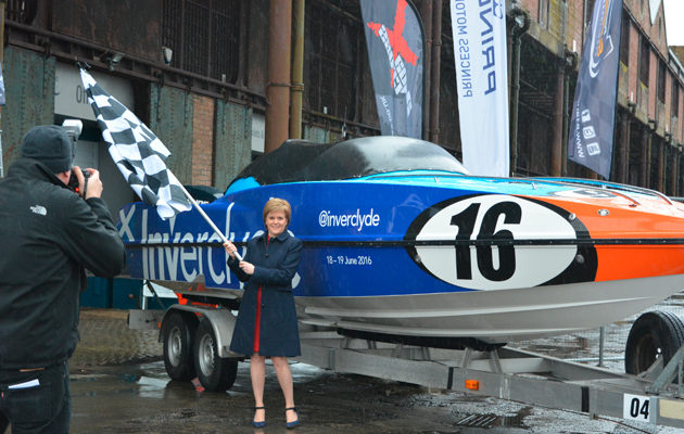 Nicola Sturgeon launches Inverclyde Powerboat P1 GP